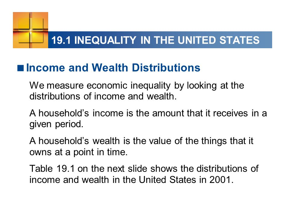 19.1 INEQUALITY IN THE UNITED STATES Change in Income Distribution The share of income received by the richest 20 percent of households has increased from 43.7 percent in 1967 to 50.1 percent in 2001.