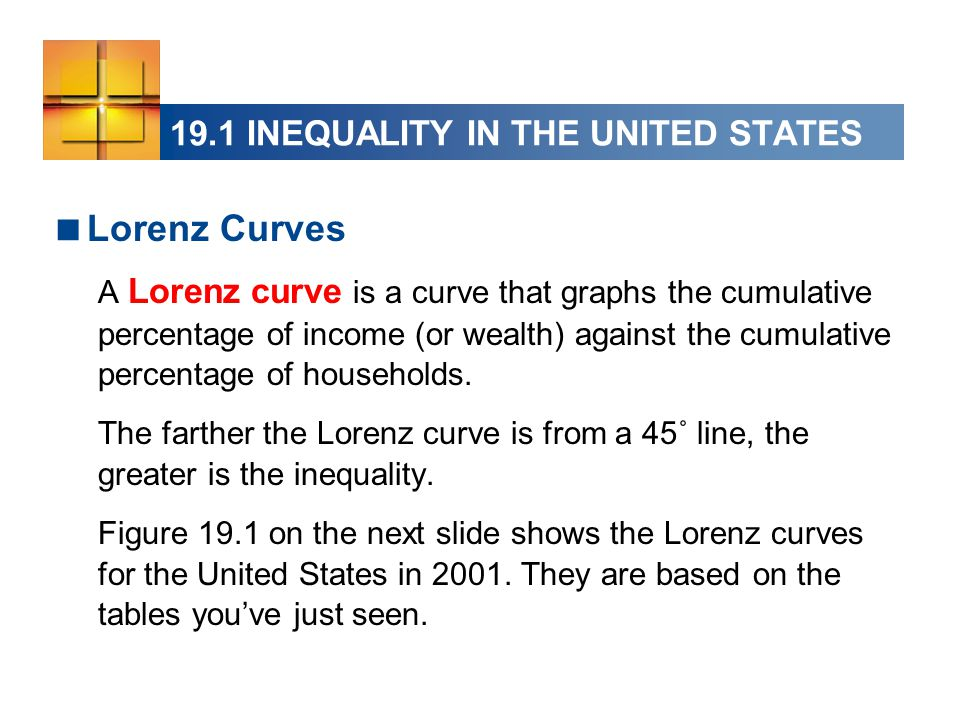  Lorenz Curves A Lorenz curve is a curve that graphs the cumulative percentage of income (or wealth) against the cumulative percentage of households.