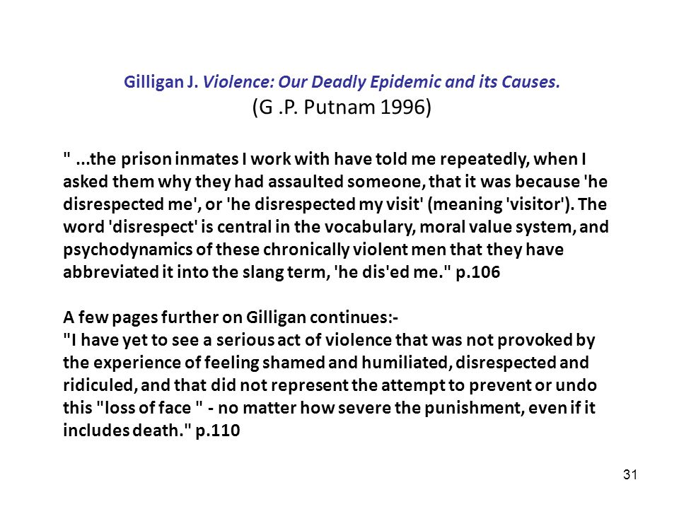 31 Gilligan J. Violence: Our Deadly Epidemic and its Causes.