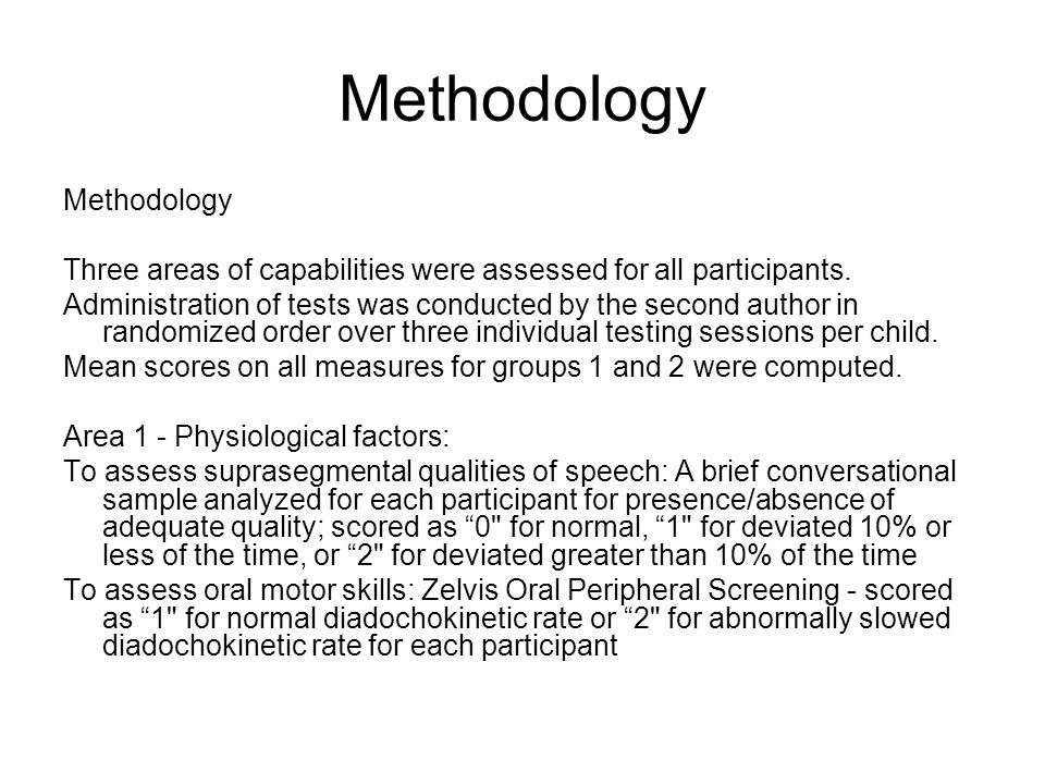 Methodology Area 2 - Cognitive-linguistic factors: To assess verbal working memory: The Clinical Evaluation of Language Fundamentals-3 (CELF-3) subtests for word forms (sentence recall allows child to generate needed syntax/grammar/morphology), following directions, sentence repetition; Standard scores obtained for each participant To assess rapid naming: The Comprehensive Test of Phonological Processes (CTOPP) Rapid Naming Subtests - colors, digits, letters, and non-words; Standard scores obtained for each participant To assess phonological awareness: CTOPP (Composite of Elision, Blending, Sound Matching subtests); Standard scores obtained for each participant