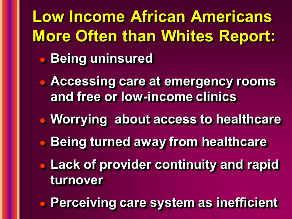 Low Income African Americans More Often than Whites Report: l Being uninsured l Accessing care at emergency rooms and free or low-income clinics l Worrying about access to healthcare l Being turned away from healthcare l Lack of provider continuity and rapid turnover l Perceiving care system as inefficient l Being uninsured l Accessing care at emergency rooms and free or low-income clinics l Worrying about access to healthcare l Being turned away from healthcare l Lack of provider continuity and rapid turnover l Perceiving care system as inefficient