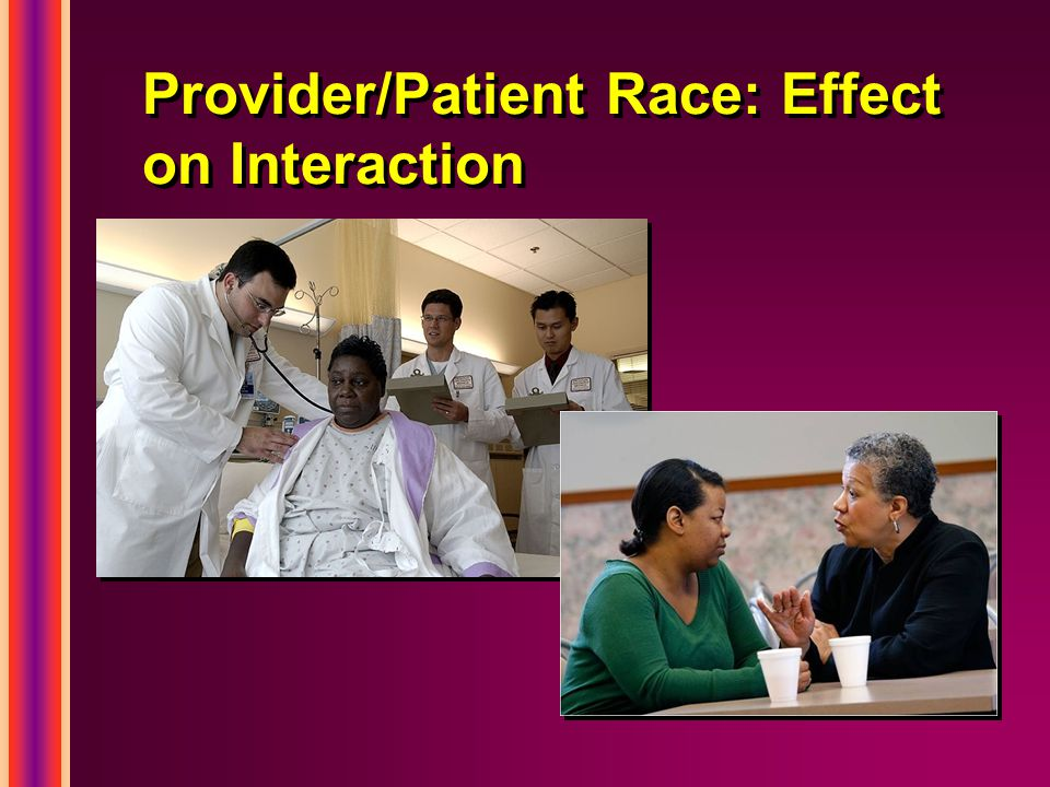 Provider/Patient Race: Effect on Interaction
