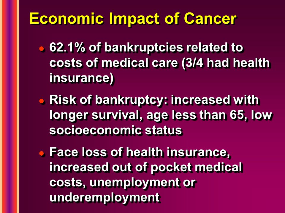 Economic Impact of Cancer l 62.1% of bankruptcies related to costs of medical care (3/4 had health insurance) l Risk of bankruptcy: increased with longer survival, age less than 65, low socioeconomic status l Face loss of health insurance, increased out of pocket medical costs, unemployment or underemployment l 62.1% of bankruptcies related to costs of medical care (3/4 had health insurance) l Risk of bankruptcy: increased with longer survival, age less than 65, low socioeconomic status l Face loss of health insurance, increased out of pocket medical costs, unemployment or underemployment