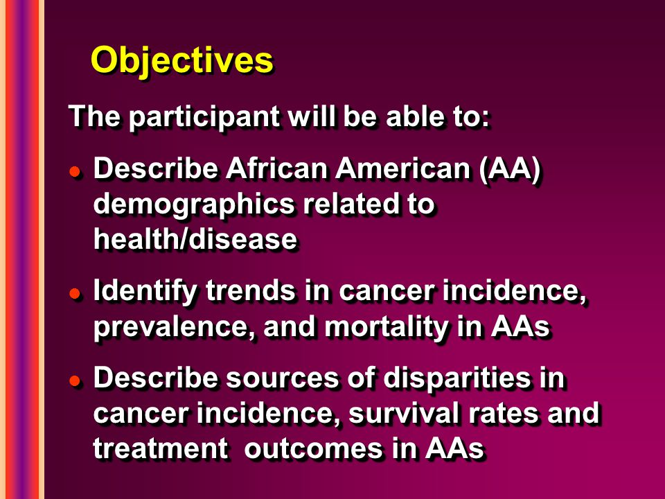 Objectives The participant will be able to: l Describe African American (AA) demographics related to health/disease l Identify trends in cancer incidence, prevalence, and mortality in AAs l Describe sources of disparities in cancer incidence, survival rates and treatment outcomes in AAs The participant will be able to: l Describe African American (AA) demographics related to health/disease l Identify trends in cancer incidence, prevalence, and mortality in AAs l Describe sources of disparities in cancer incidence, survival rates and treatment outcomes in AAs