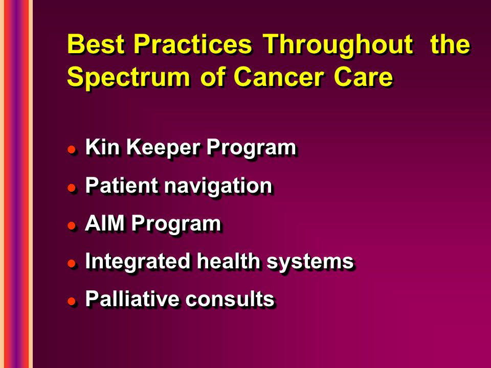 Best Practices Throughout the Spectrum of Cancer Care l Kin Keeper Program l Patient navigation l AIM Program l Integrated health systems l Palliative