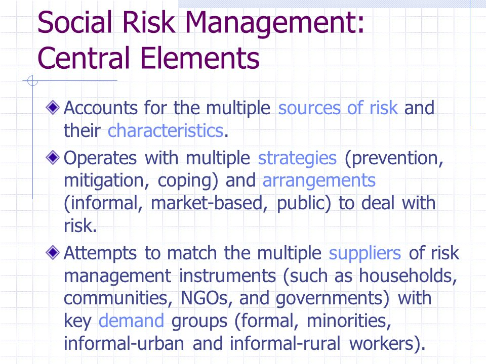 Social Risk Management: Central Elements Accounts for the multiple sources of risk and their characteristics.