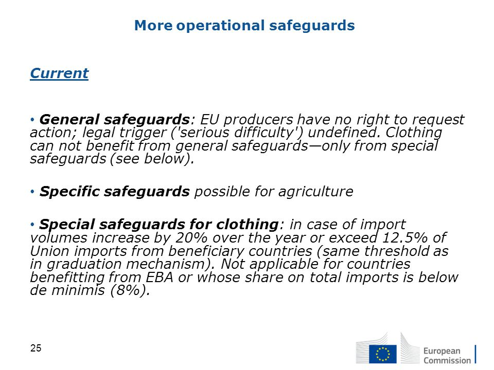 Current General safeguards: EU producers have no right to request action; legal trigger ( serious difficulty ) undefined.
