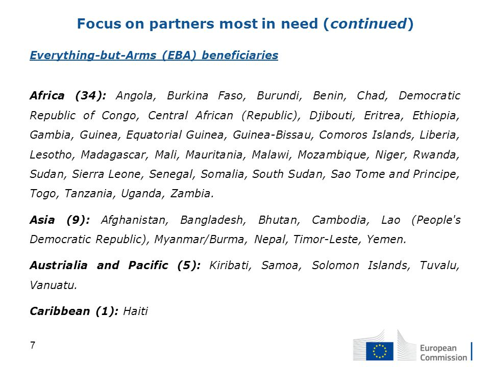 Everything-but-Arms (EBA) beneficiaries Africa (34): Angola, Burkina Faso, Burundi, Benin, Chad, Democratic Republic of Congo, Central African (Republic), Djibouti, Eritrea, Ethiopia, Gambia, Guinea, Equatorial Guinea, Guinea-Bissau, Comoros Islands, Liberia, Lesotho, Madagascar, Mali, Mauritania, Malawi, Mozambique, Niger, Rwanda, Sudan, Sierra Leone, Senegal, Somalia, South Sudan, Sao Tome and Principe, Togo, Tanzania, Uganda, Zambia.