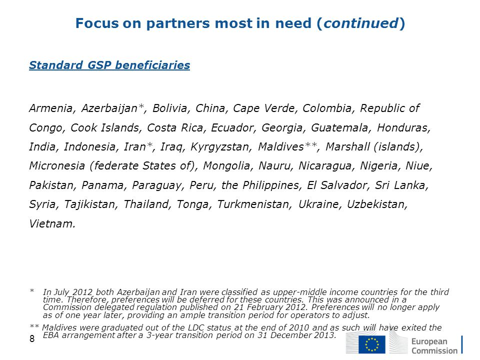 Standard GSP beneficiaries Armenia, Azerbaijan*, Bolivia, China, Cape Verde, Colombia, Republic of Congo, Cook Islands, Costa Rica, Ecuador, Georgia, Guatemala, Honduras, India, Indonesia, Iran*, Iraq, Kyrgyzstan, Maldives**, Marshall (islands), Micronesia (federate States of), Mongolia, Nauru, Nicaragua, Nigeria, Niue, Pakistan, Panama, Paraguay, Peru, the Philippines, El Salvador, Sri Lanka, Syria, Tajikistan, Thailand, Tonga, Turkmenistan, Ukraine, Uzbekistan, Vietnam.
