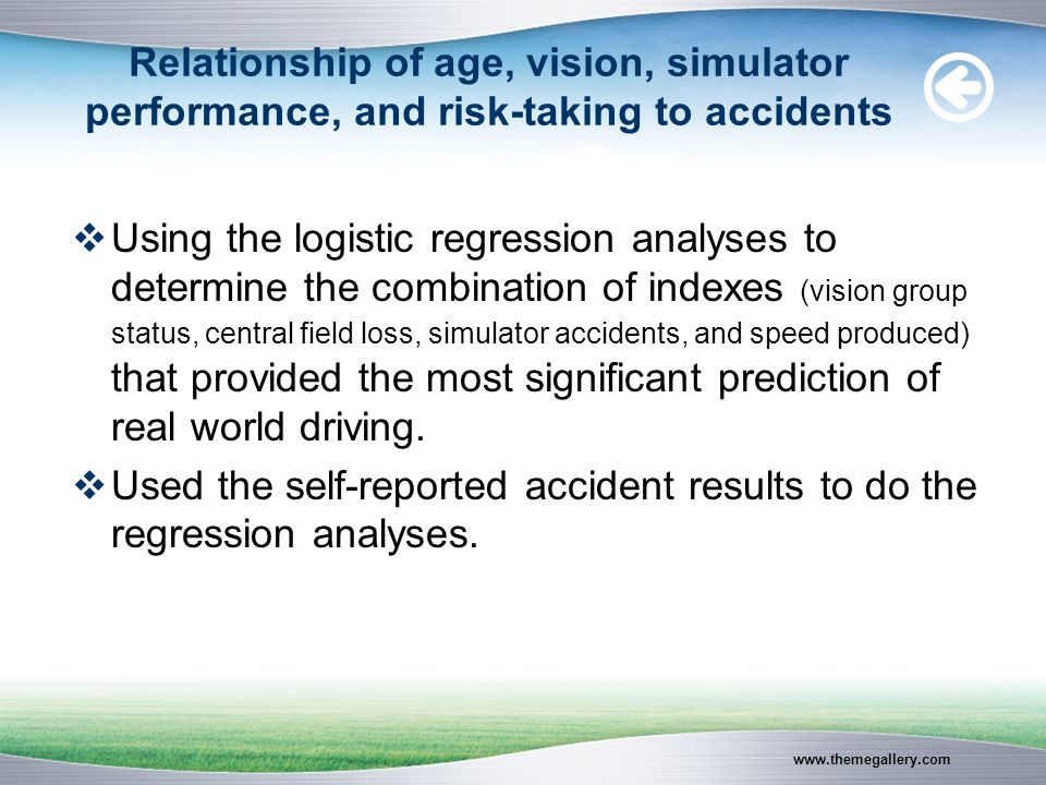 www.themegallery.com Relationship of age, vision, simulator performance, and risk-taking to accidents  Using the logistic regression analyses to determine the combination of indexes (vision group status, central field loss, simulator accidents, and speed produced) that provided the most significant prediction of real world driving.