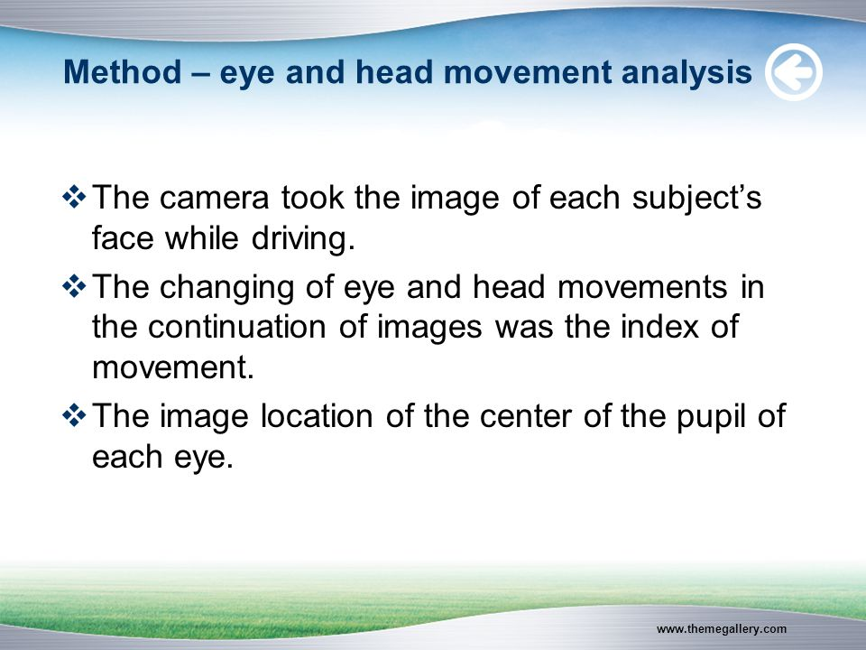 www.themegallery.com Method – eye and head movement analysis  The camera took the image of each subject's face while driving.