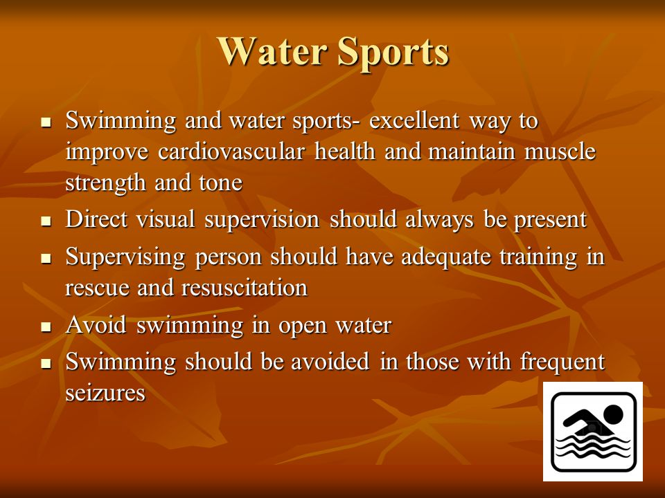 Water Sports Swimming and water sports- excellent way to improve cardiovascular health and maintain muscle strength and tone Swimming and water sports