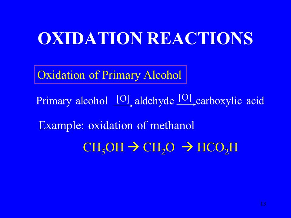 13 OXIDATION REACTIONS CH 3 OH  CH 2 O  HCO 2 H Oxidation of Primary Alcohol Primary alcohol aldehyde carboxylic acid Example: oxidation of methanol [O]