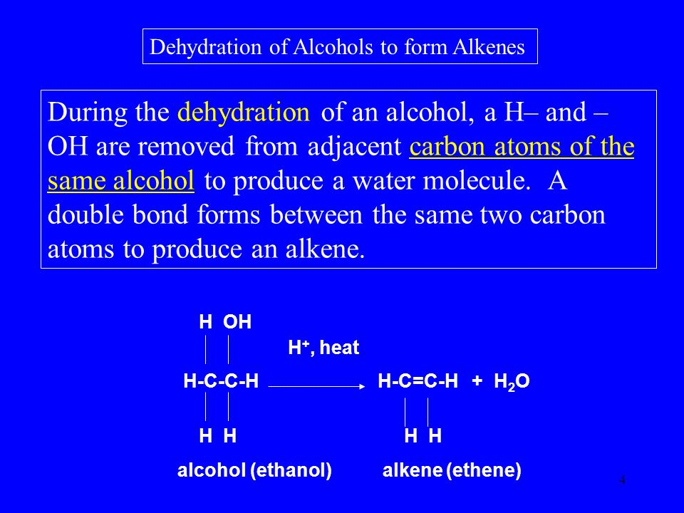 4 Dehydration of Alcohols to form Alkenes During the dehydration of an alcohol, a H– and – OH are removed from adjacent carbon atoms of the same alcohol to produce a water molecule.