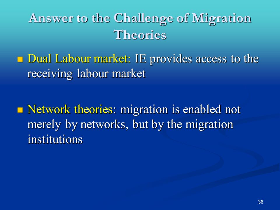 36 Dual Labour market: IE provides access to the receiving labour market Dual Labour market: IE provides access to the receiving labour market Network theories: migration is enabled not merely by networks, but by the migration institutions Network theories: migration is enabled not merely by networks, but by the migration institutions Answer to the Challenge of Migration Theories