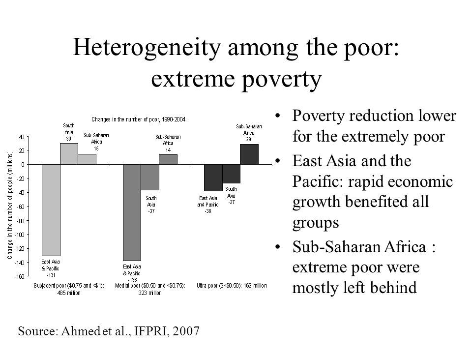 Heterogeneity among the poor: extreme poverty Poverty reduction lower for the extremely poor East Asia and the Pacific: rapid economic growth benefited all groups Sub-Saharan Africa : extreme poor were mostly left behind Source: Ahmed et al., IFPRI, 2007