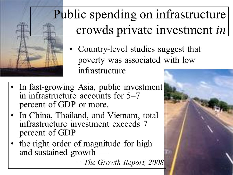 Country-level studies suggest that poverty was associated with low infrastructure Public spending on infrastructure crowds private investment in In fast-growing Asia, public investment in infrastructure accounts for 5–7 percent of GDP or more.