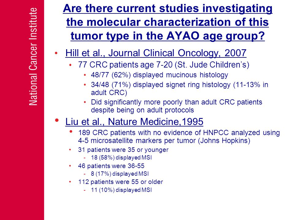 Are there current studies investigating the molecular characterization of this tumor type in the AYAO age group.
