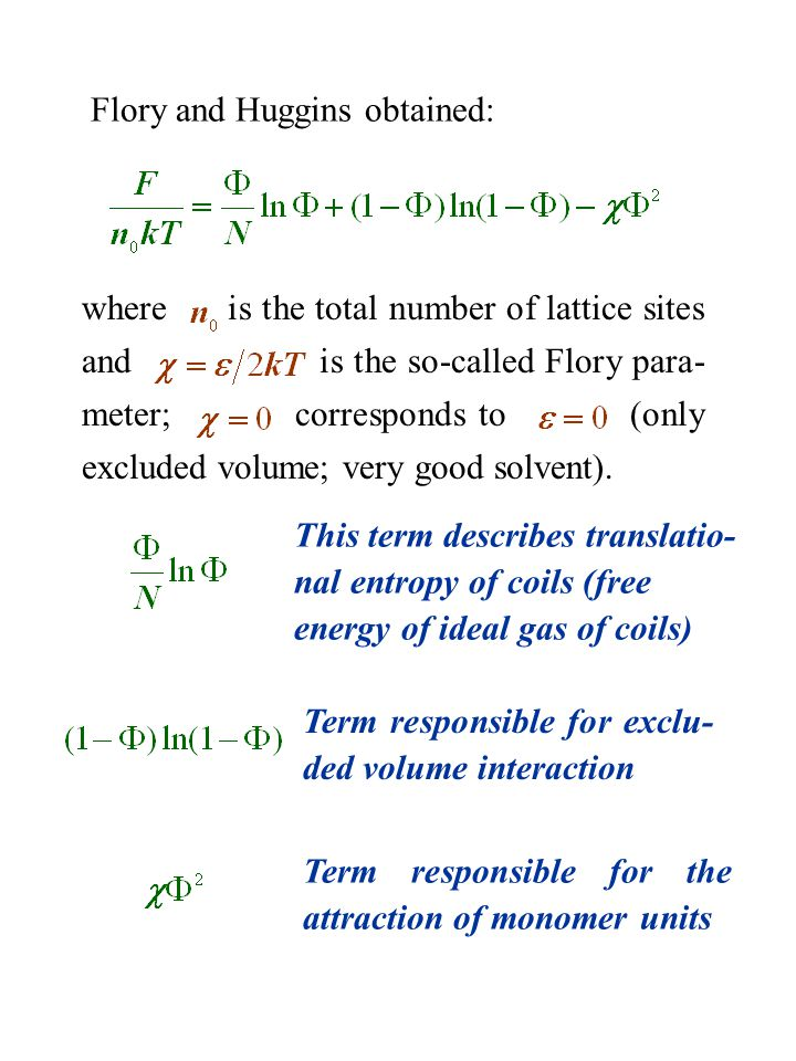 Flory and Huggins obtained: where is the total number of lattice sites and is the so-called Flory para- meter; corresponds to (only excluded volume; v