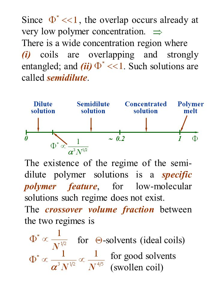 Since, the overlap occurs already at very low polymer concentration. There is a wide concentration region where (i) coils are overlapping and strongly