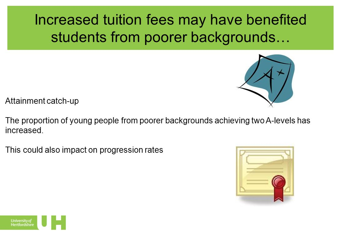 Increased tuition fees may have benefited students from poorer backgrounds… Attainment catch-up The proportion of young people from poorer backgrounds