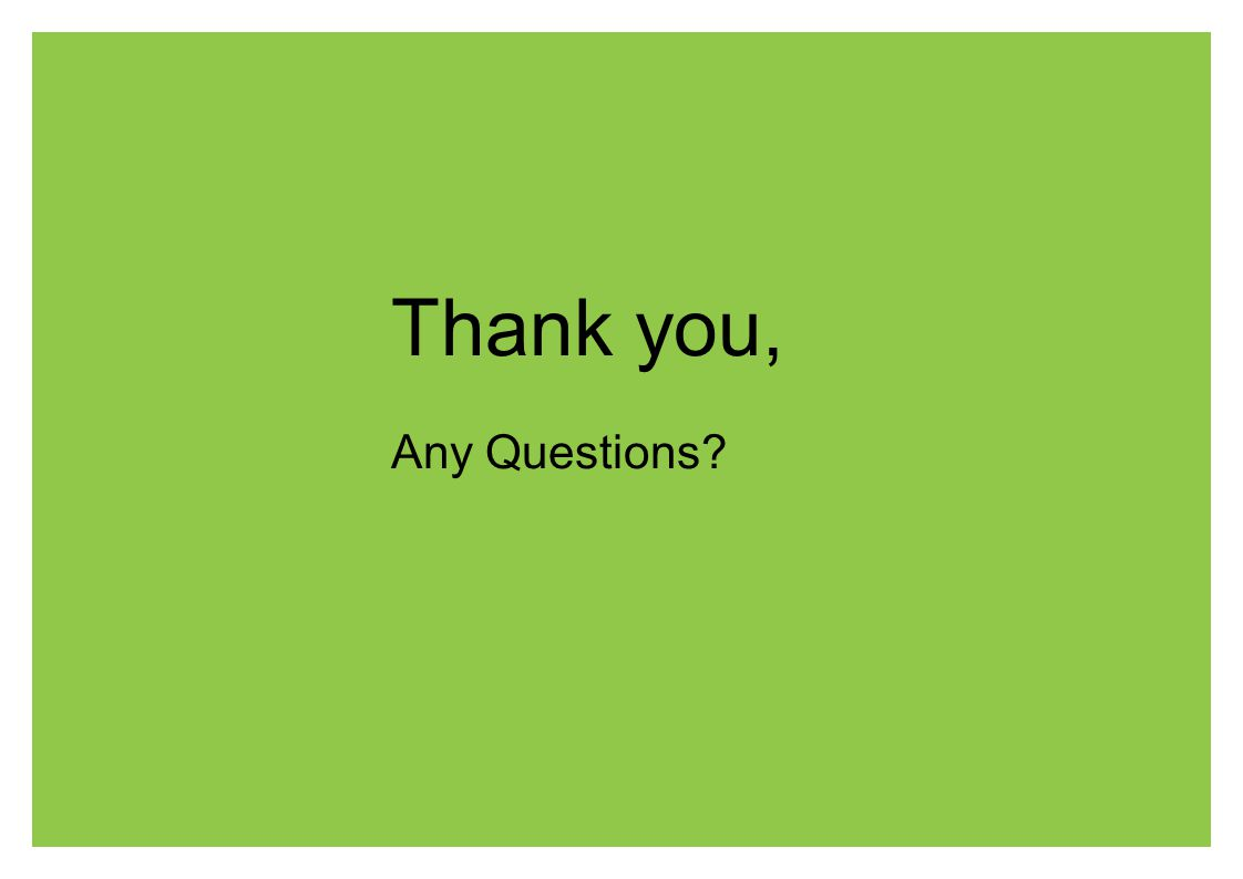 Thank you, Any Questions