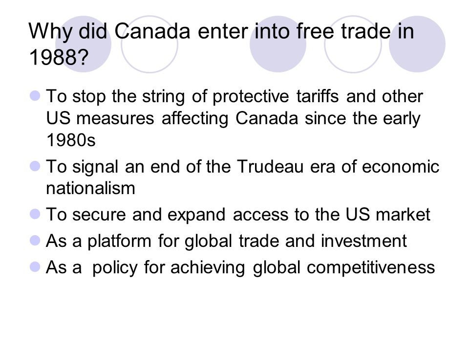 Why did Canada enter into free trade in 1988.