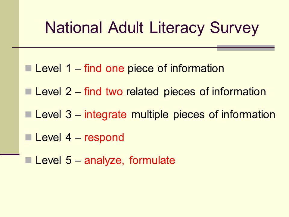 National Adult Literacy Survey Level 1 – find one piece of information Level 2 – find two related pieces of information Level 3 – integrate multiple pieces of information Level 4 – respond Level 5 – analyze, formulate