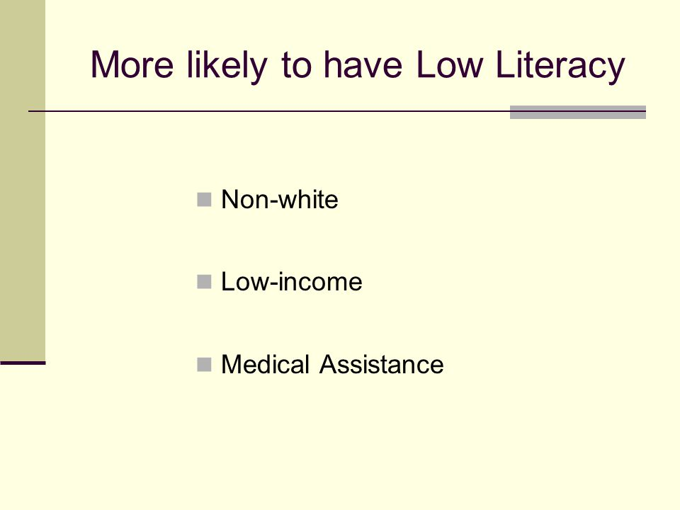 More likely to have Low Literacy Non-white Low-income Medical Assistance