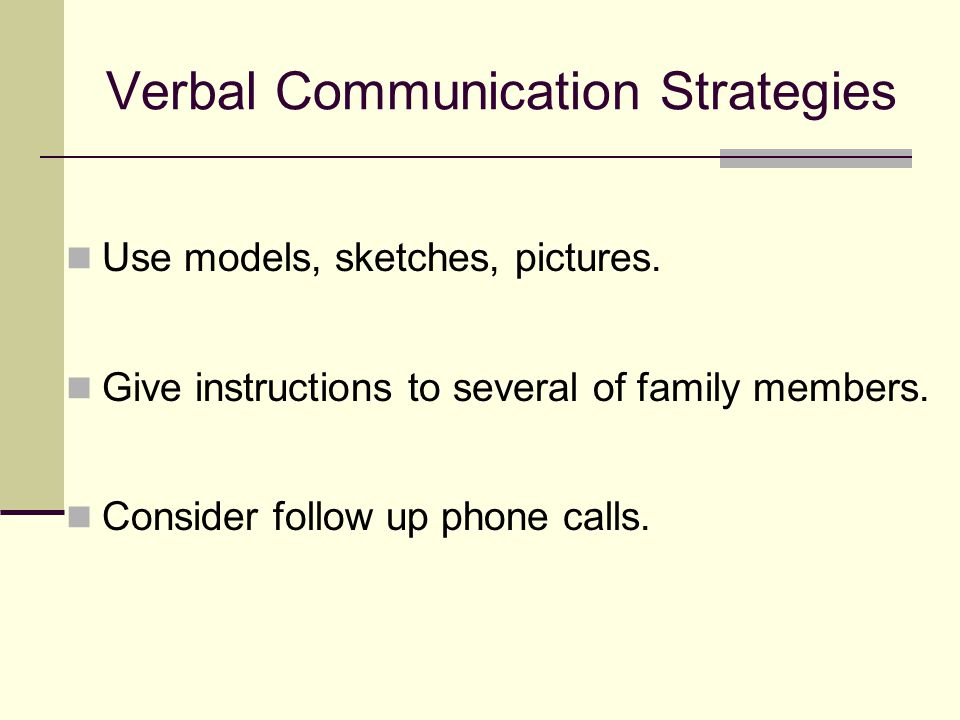 Verbal Communication Strategies Use models, sketches, pictures.