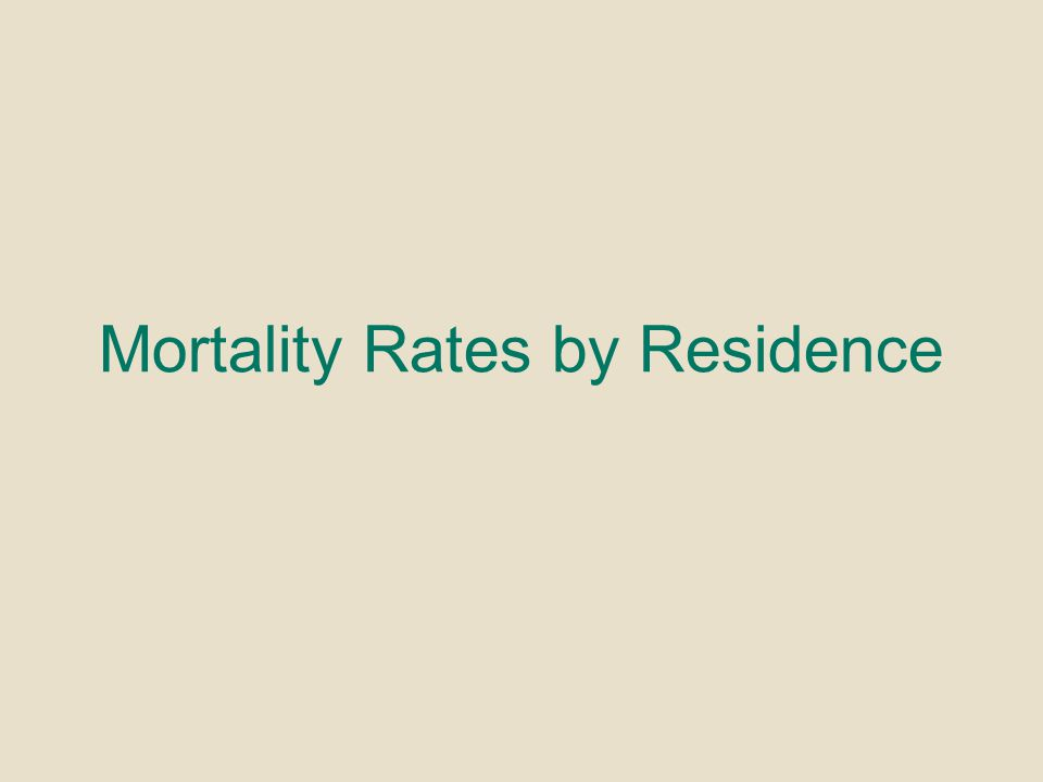 Mortality Rates by Residence