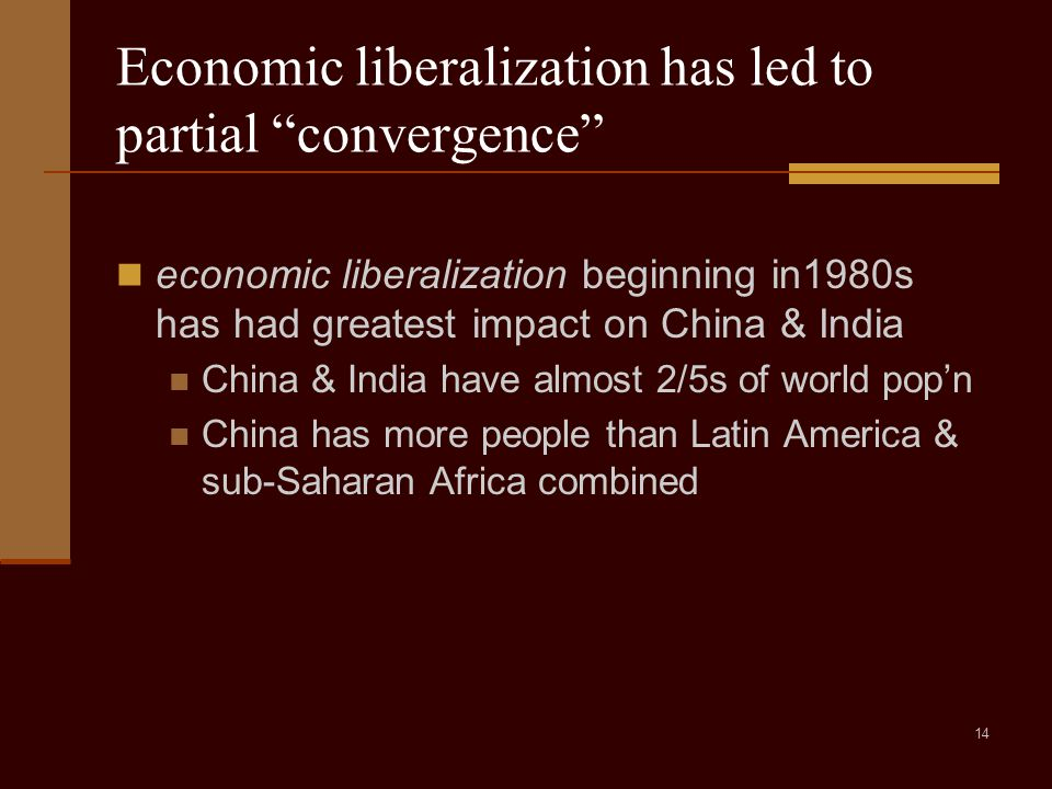 14 Economic liberalization has led to partial convergence economic liberalization beginning in1980s has had greatest impact on China & India China & India have almost 2/5s of world pop'n China has more people than Latin America & sub-Saharan Africa combined