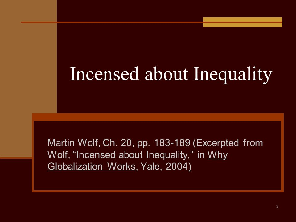 9 Incensed about Inequality Martin Wolf, Ch. 20, pp.