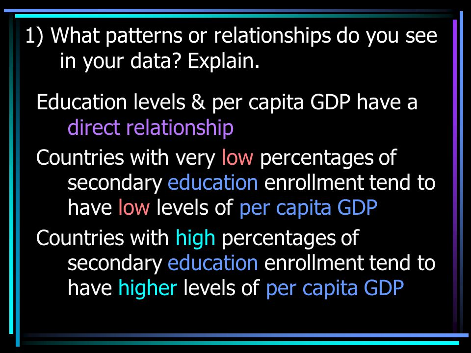 1) What patterns or relationships do you see in your data.