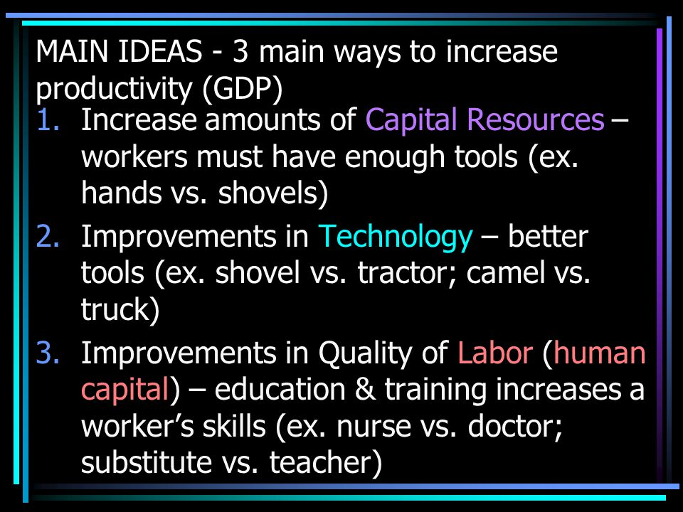 MAIN IDEAS - 3 main ways to increase productivity (GDP) 1.Increase amounts of Capital Resources – workers must have enough tools (ex.
