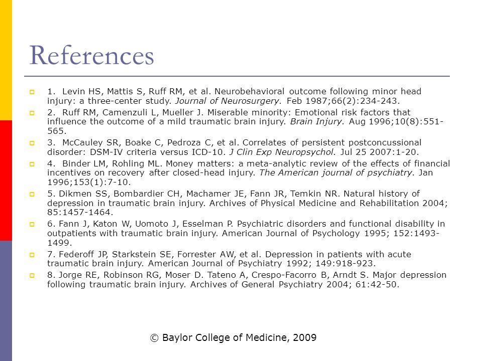 References  1. Levin HS, Mattis S, Ruff RM, et al.