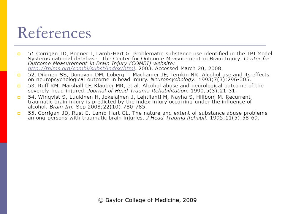 References  51.Corrigan JD, Bogner J, Lamb-Hart G.