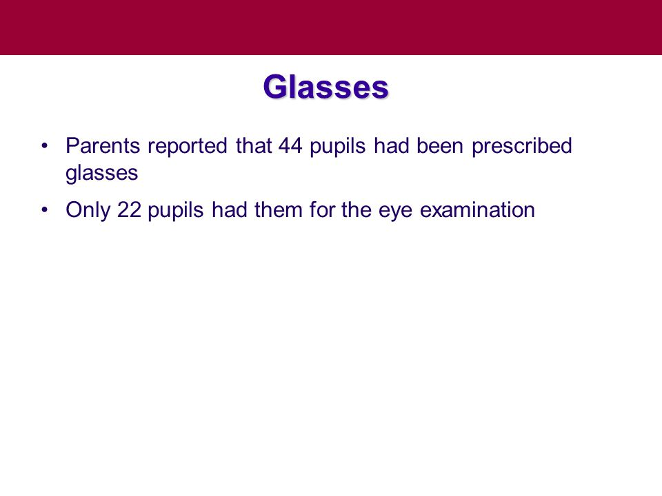 Glasses Parents reported that 44 pupils had been prescribed glasses Only 22 pupils had them for the eye examination