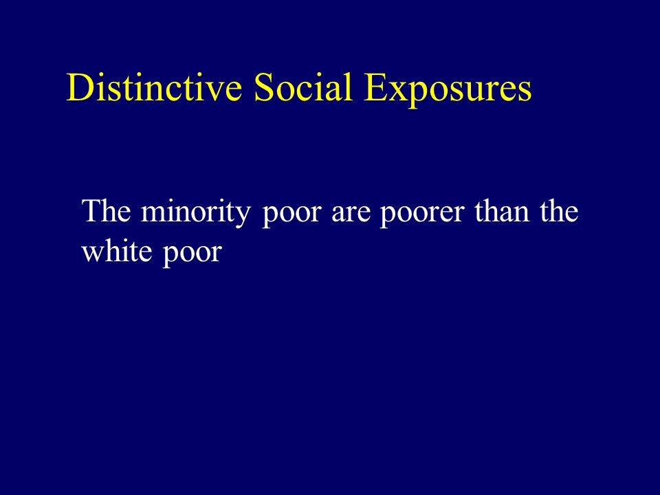 Distinctive Social Exposures The minority poor are poorer than the white poor