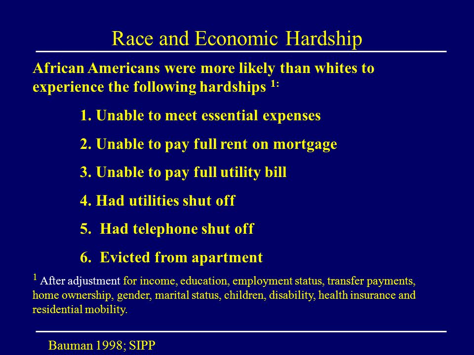 Race and Economic Hardship African Americans were more likely than whites to experience the following hardships 1: 1.