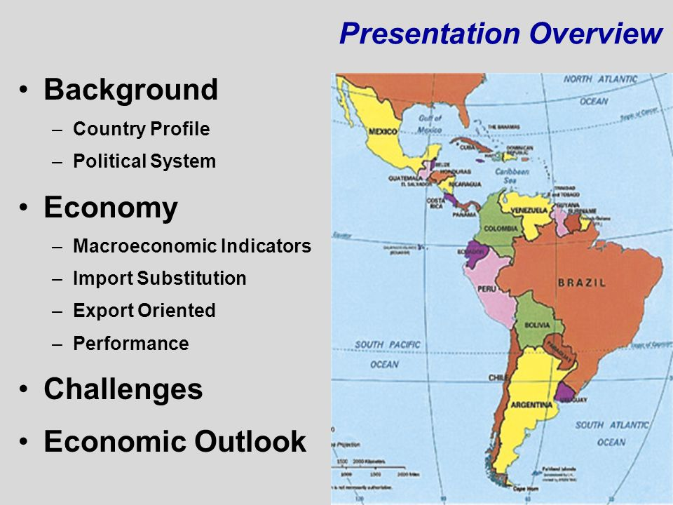 Presentation Overview Background –Country Profile –Political System Economy –Macroeconomic Indicators –Import Substitution –Export Oriented –Performan