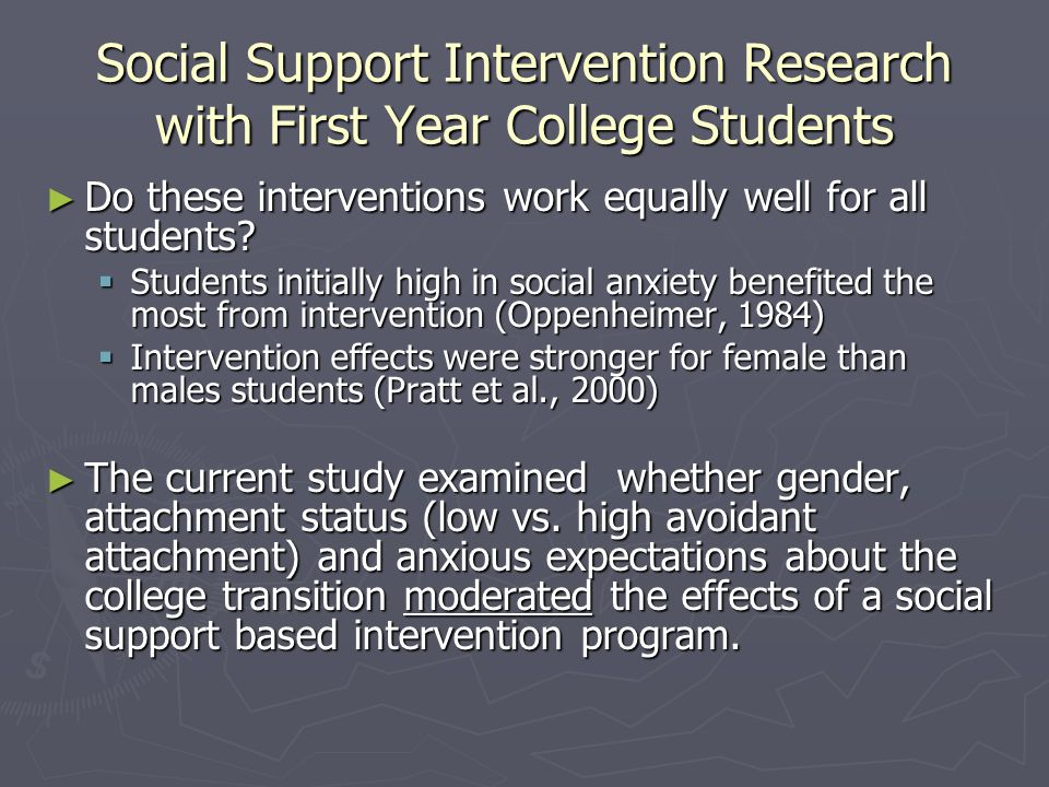 Social Support Intervention Research with First Year College Students ► Do these interventions work equally well for all students.
