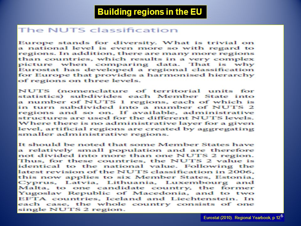 7 The NUTS classification (Nomenclature of territorial units for statistics) is a hierarchical system for dividing up the economic territory of the EU for the purpose of :  The collection, development and harmonisation of EU regional statistics.