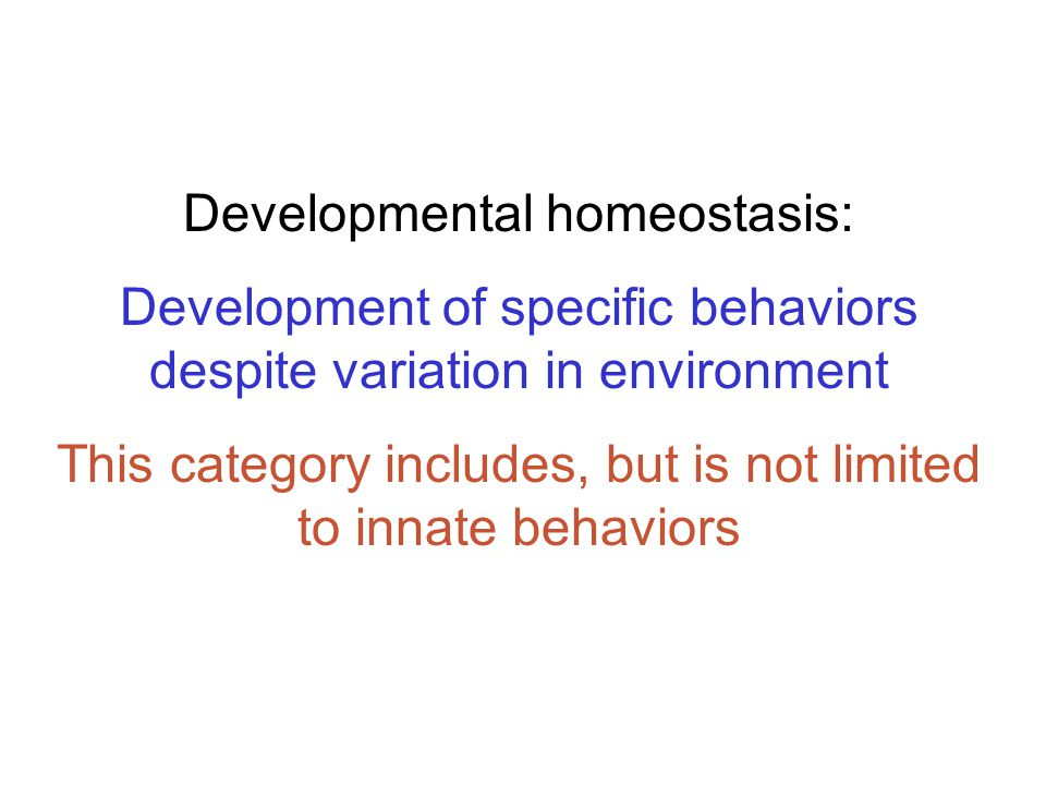 Developmental homeostasis: Development of specific behaviors despite variation in environment This category includes, but is not limited to innate behaviors