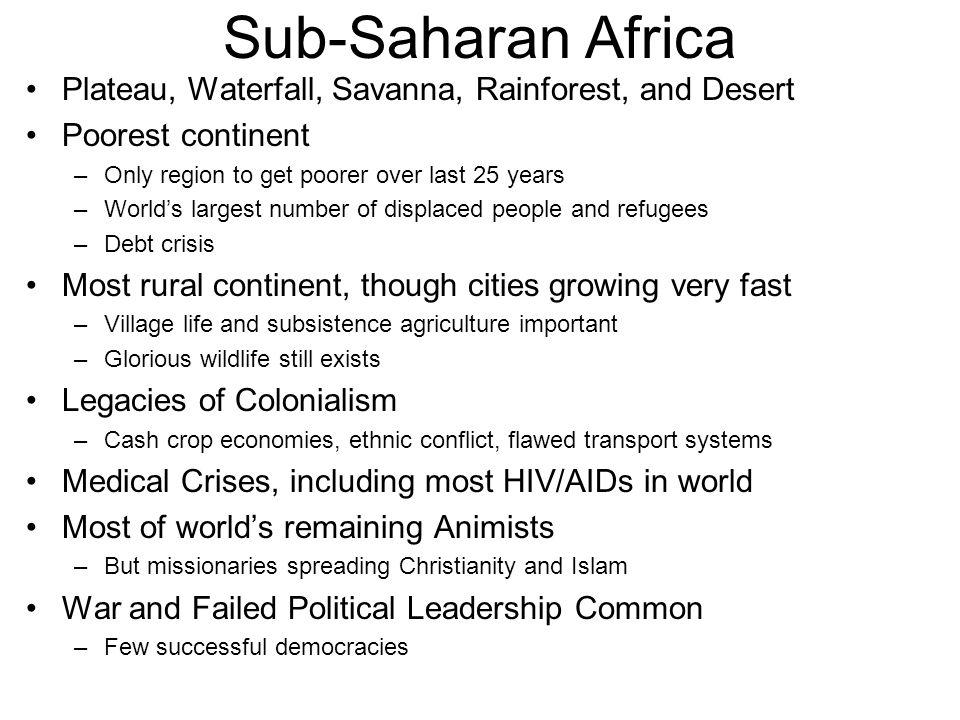 Sahel - Shore (7 Countries) Sahel = Shore –Southern edge of the Sahara Semi-Desert –Between Savanna & Desert Grasses and small trees