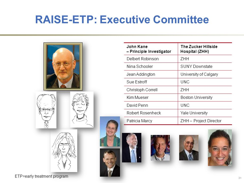 John Kane – Principle Investigator The Zucker Hillside Hospital (ZHH) Delbert RobinsonZHH Nina SchoolerSUNY Downstate Jean AddingtonUniversity of Calgary Sue EstroffUNC Christoph CorrellZHH Kim MueserBoston University David PennUNC Robert RosenheckYale University Patricia MarcyZHH – Project Director ETP=early treatment program 31 RAISE-ETP: Executive Committee