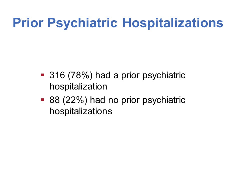 Prior Psychiatric Hospitalizations  316 (78%) had a prior psychiatric hospitalization  88 (22%) had no prior psychiatric hospitalizations
