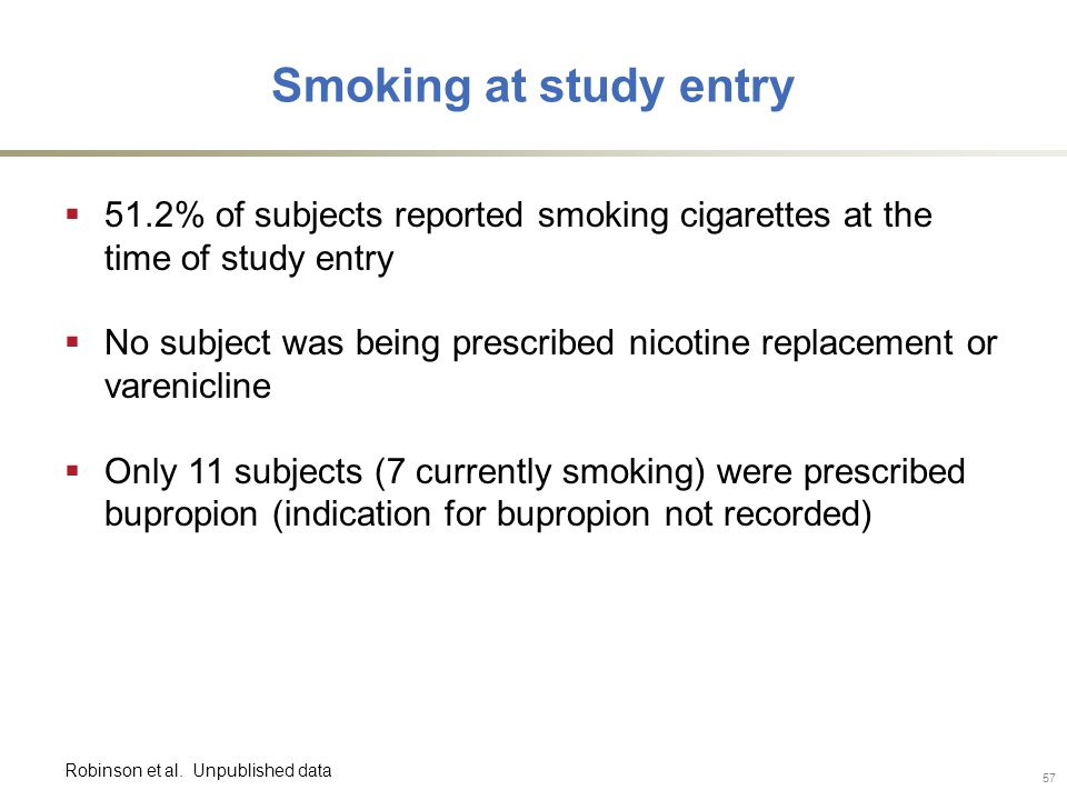Smoking at study entry  51.2% of subjects reported smoking cigarettes at the time of study entry  No subject was being prescribed nicotine replacement or varenicline  Only 11 subjects (7 currently smoking) were prescribed bupropion (indication for bupropion not recorded) Robinson et al.