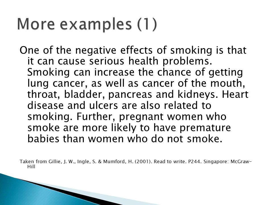 One of the negative effects of smoking is that it can cause serious health problems. Smoking can increase the chance of getting lung cancer, as well a