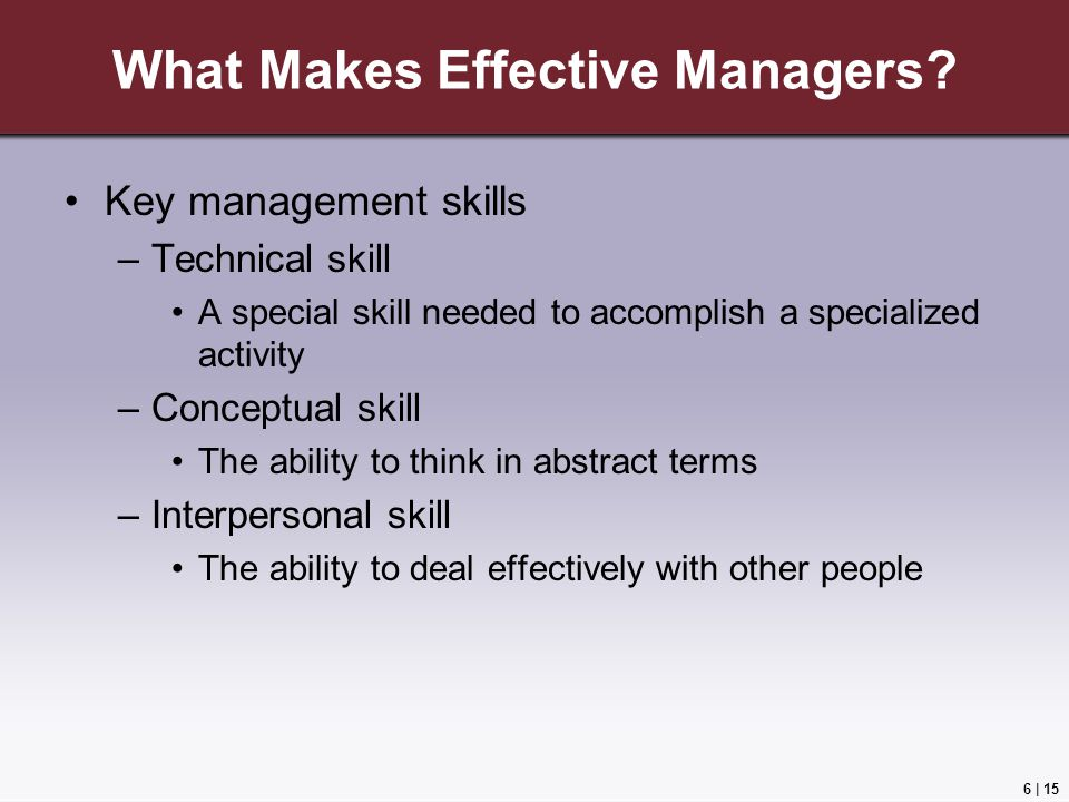 6 | 15 What Makes Effective Managers.